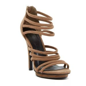 Wild Diva Strappy Suede Amy Sandal Tan Brown 5.5
